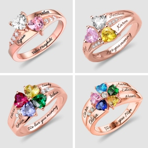 Personalized Heart Birthstone Ring With Engraving In Rose Gold