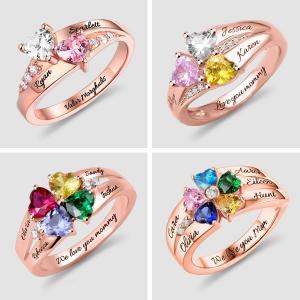 Personalisierte Herz- Geburtsstein Ring mit Gravur in Rosa Gold