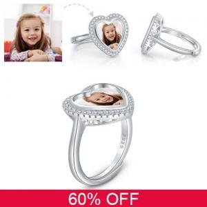 Personalisierter einstellbarer Herz-Foto-Ring in Sterlingsilber