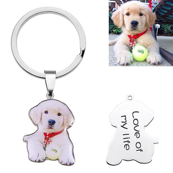 Chaveiro personalizado com foto colorida de animal de estimação