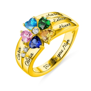 Engraved  5 Heart-Shaped Birthstones Ring In Gold