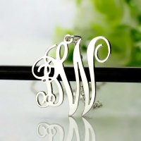 Vine Font 2 Initial Monogram Necklace Solid White Gold