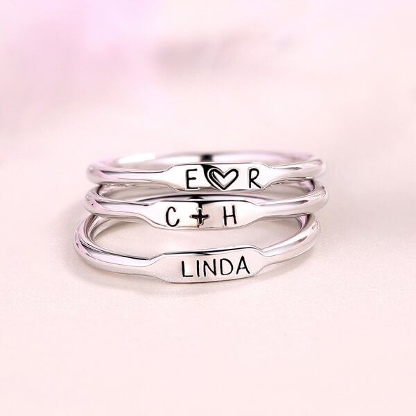 Personalized Initial and Name Stackable Bar Rings In Silver Upload