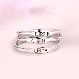 Personalized Initial and Name Stackable Bar Rings In Silver