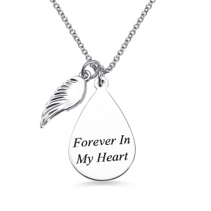 Personalized Teardrop Fingerprint Necklace With Angel Wing