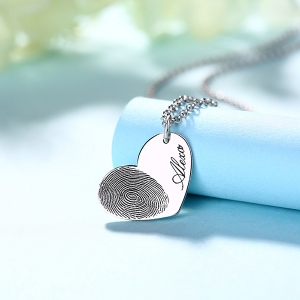 Bewitching Personalized Fingerprint Heart Necklace With Name
