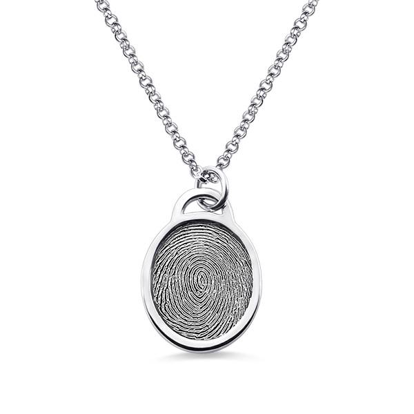 Personalized Fingerprint Ellipse Necklace Sterling Silver