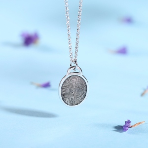 Personalized Fingerprint Ellipse Necklace Sterling Silver