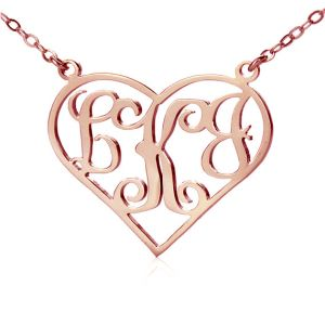 Solid Rose Gold Initial Monogram Personalized Heart Necklace