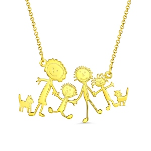 Personalized Children Drawing Necklace in Gold