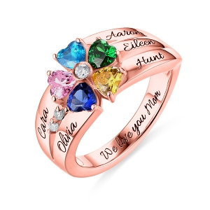 Engraved  5 Heart-Shaped Birthstones Ring In Rose Gold