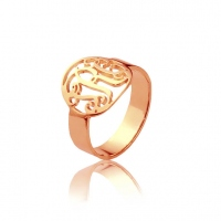 Circle Name Initial Monogrammed Ring Rose Gold 0.59""