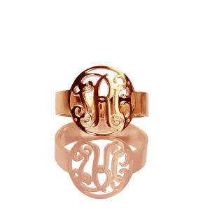 Circle Name Initial Monogrammed Ring Rose Gold 0.59