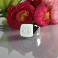 Engraved Square Design Monogram Ring Sterling Silver