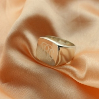 Engraved Square Design Monogram Ring Sterling Silver