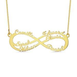 Personalisierte  Infinity Halskette mit 6 Namen in Gold