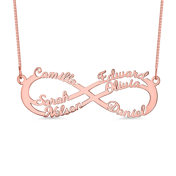 Personalized 6 Names Infinity Symbol Necklace In Rose Gold