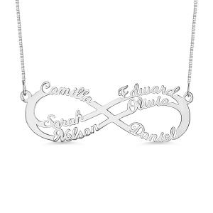 Personalisierte  Infinity Halskette mit 6 Namen in Silver