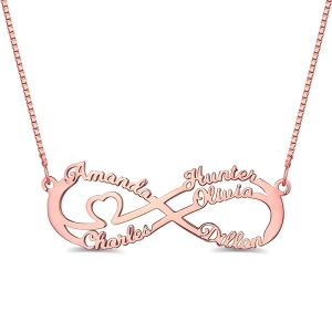 Infinity Necklace With 5 Names In Rose Gold