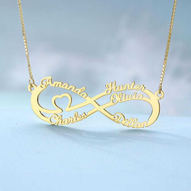 Infinity Halskette mit 5 Namen in Gold