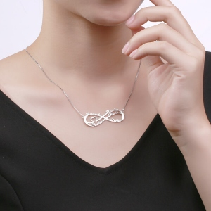 Charismatic Silver Infinity Necklace With 5 Names