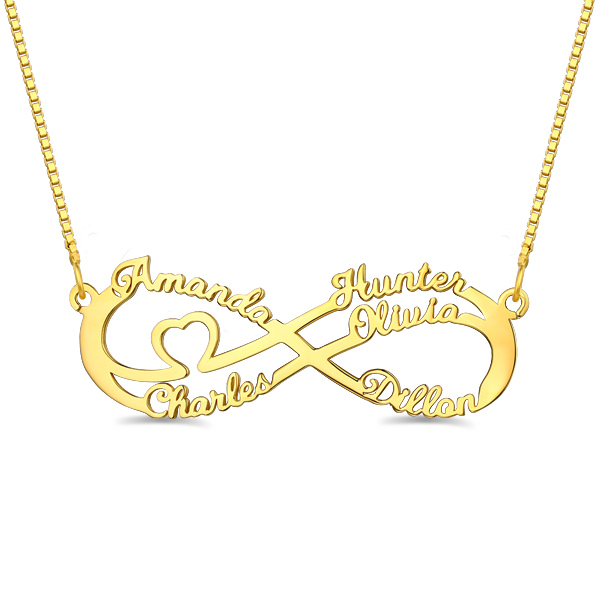 Infinity Necklace With 5 Names In Gold
