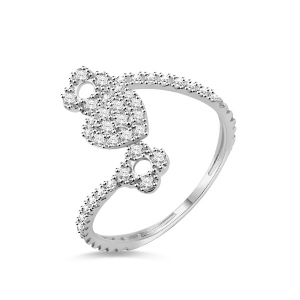 Solid White Gold Heart Promise Ring With Cubic Zirconia