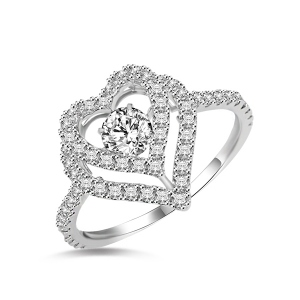 White Gold Dancing Stone Heart Ring With Cubic Zirconia Stones