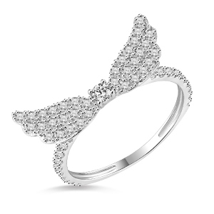18k/14k/10k Solid White Gold Angel Wings Ring