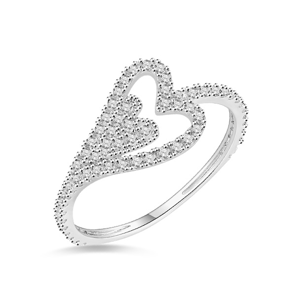 18k/14k/10k Solid White Gold Heart In Heart Ring