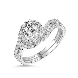 18k/14k/10k Elegant Solid White Gold Waves Ring