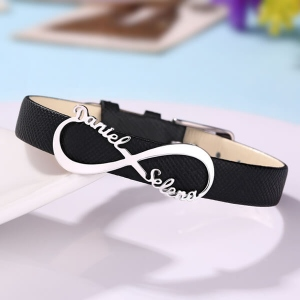 Personalized Double Name Infinity Leather Bracelet