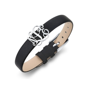 Personalized Monogram Initial Leather Belt Bracelet