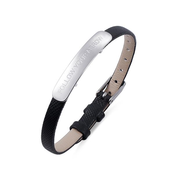 Custom Engraved Bar Leather Bracelet For Her