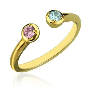 Personalized and Dual Birthstone Ring 18K Gold Plated