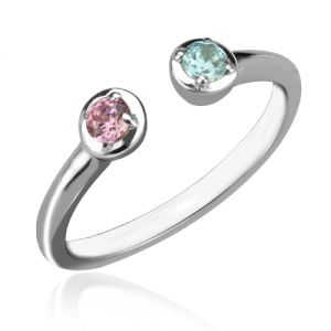 Typical and Dainty Dual Birthstone Cuff Ring Sterling Silver