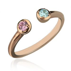 Substantial Dual Birthstone Ring Rose Gold Plated Silver