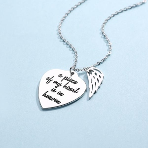 Personalized Memorial Heart Necklace with Angel wing Sterling Silver