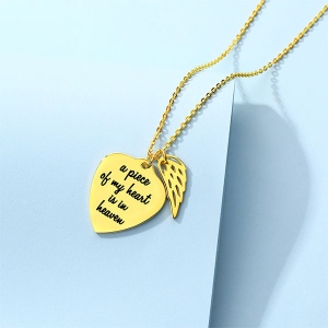 Personalized Memorial Heart Necklace with Angel wing Sterling Silver in Gold