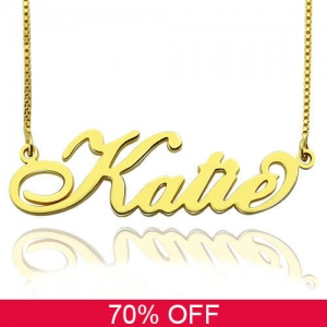 Personalized Necklace Nameplate Carrie in Gold 70% Off