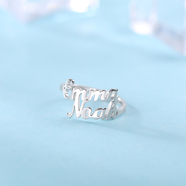 Personalized Double Name Ring Gift Sterling Silver