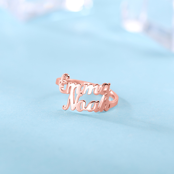 Personalized Double Name Ring Gift in Rose Gold