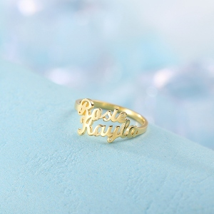Personalized Double Name Ring Gift in Gold