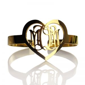 Personalized Gold Plated Silver 3 Initials Monogram Heart Bracelet