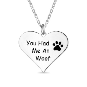 "Herzkette mit Pfotenabdruck ""You Had Me at Woof"""