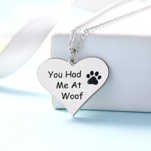 You Had Me at Woof Paw Print Heart Necklace