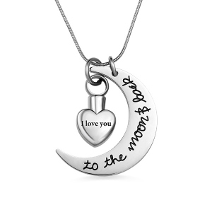 Gorgeous Personalized For Ashes Love You To the Moon & Back Urn Necklace