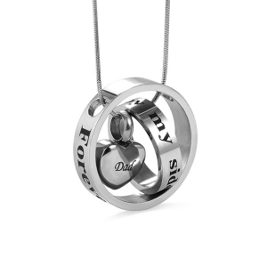 Forever In My Heart Stainless Steel Cremation Urn Necklace For Ashes