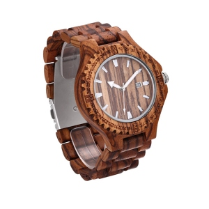 Men's Zebrawood Calendar Quartz Wrist Watch