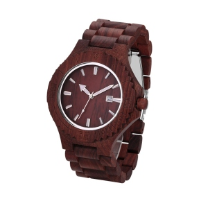 Personalized Men's Wooden Date Display Quartz Watch